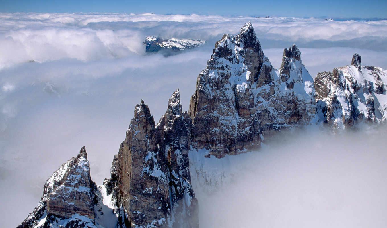 горы, анды, туман, облака,