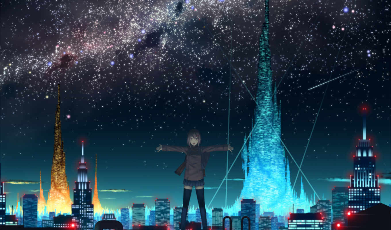 anime, девушка, ночь, город, крыша, scenery,