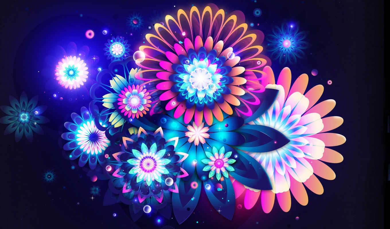 абстрактные, abstract, цветы, коллекция, natko, яркий, абстракция, fone,