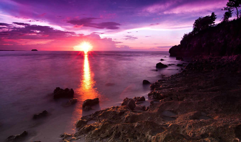 море, naplemente, tengerpart, felbontású,