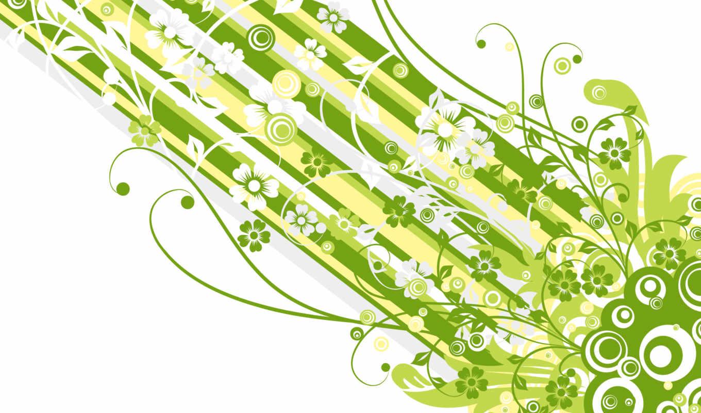 узоры, линии, streaks, зелёный, white, цветы, абстракция,