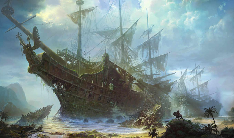 парусник, обои, корабль, фрегат, море, всадник, нр