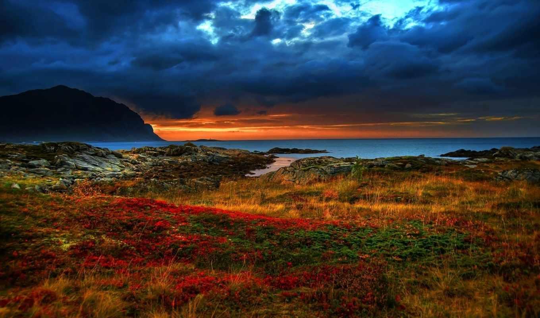 скалы, море, побережье, картинка, небо, горы, берег, закат, over, sunrise, spring, hdr, трава,