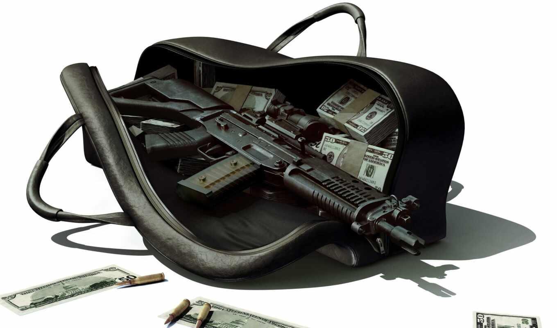 автомат, сумка, деньгами, weapons,