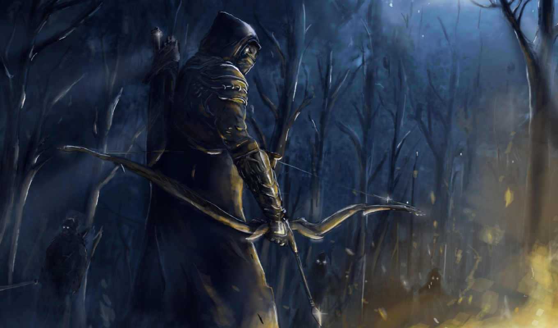 арт, огонь, elder, online, scrolls, ночь, люди, лес, лук, оружие,