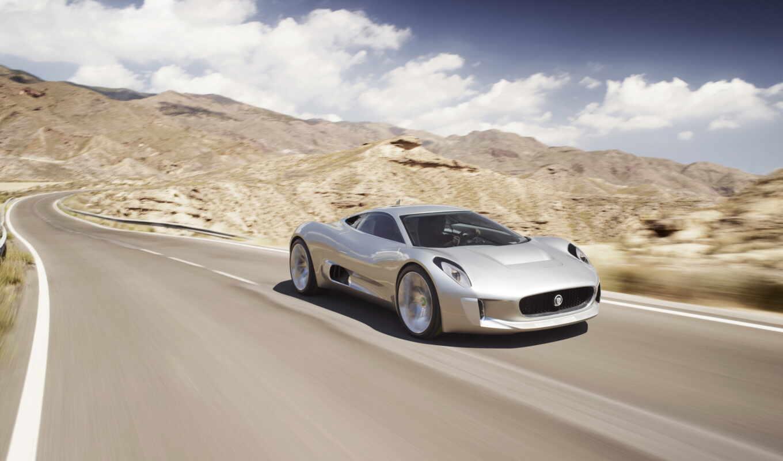 серебристый, едет, дороге, скорость, небо, облака, спортивная, машина, автомобиль, седан,