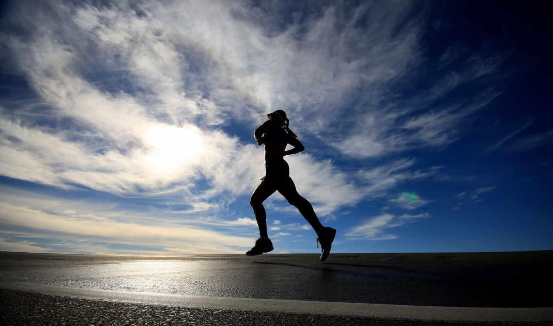 бег, небо, девушка, спорт,