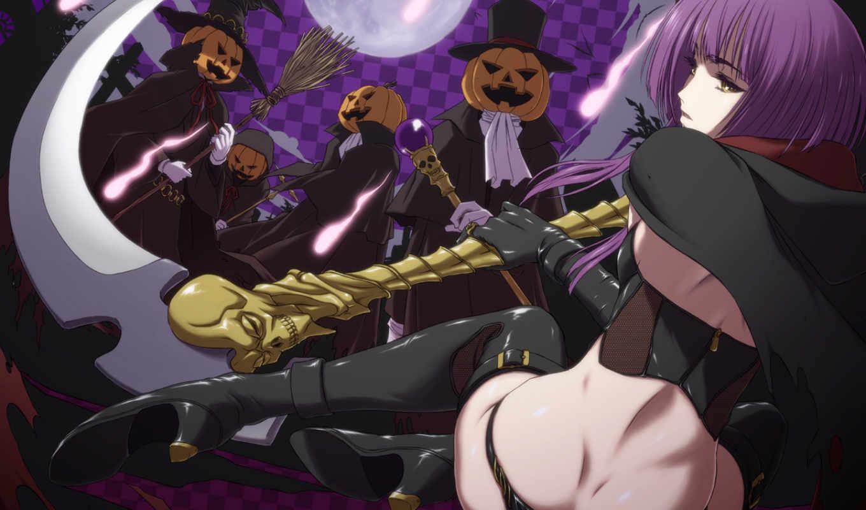 anime, girl, blade, halloween, theme, konachan, tagme, wielding,
