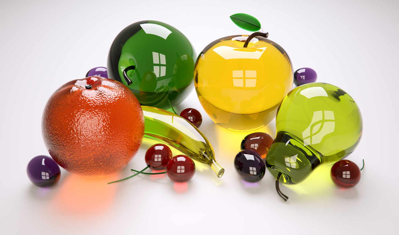 фрукты, яблоки, ягоды, стекло, груши,