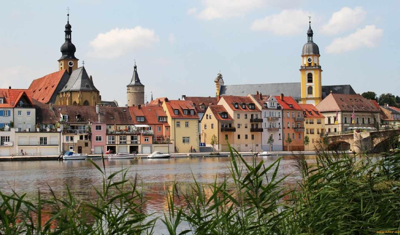 панорама, miasta, kitzingen, niemcy,