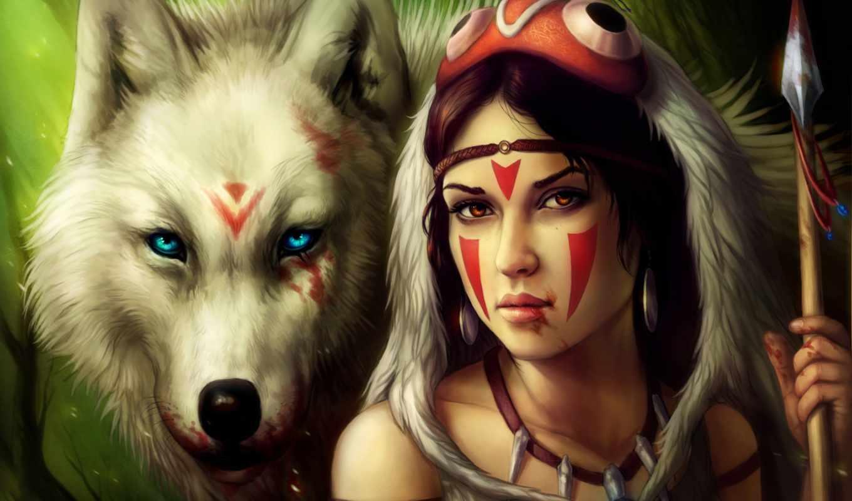 девушка, волк, кровь, mononoke, принцесса,