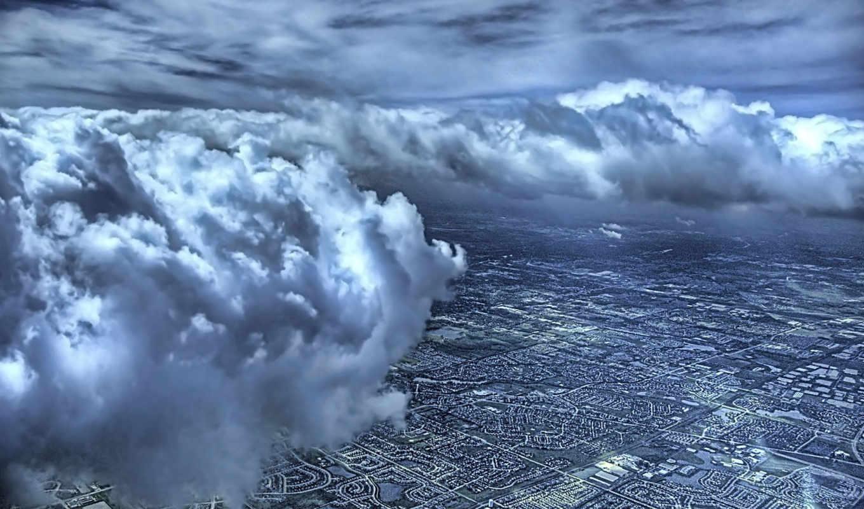 oblaka, небо, взгляд, сверху, hdr, top, со, город,