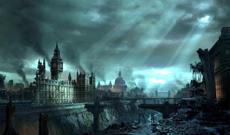 лондон, kıyamet, апокалипсис, бен, картинка, fin, катастрофа, биг, здания, город, женщины, люди, coffey, susan, desktop, with, дома, изображение, dehşet, дым, руины,
