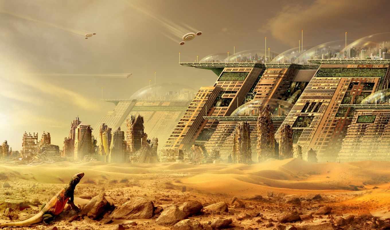 city, futuristic, cityscapes, desert, ovh, buildings, artwork, мир, фантастический, ns, town, src, tướng,