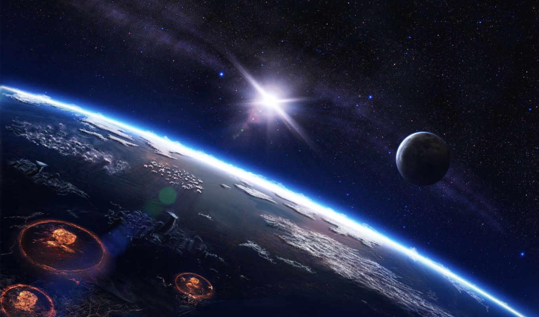 космос, война, звезды, ночь, планета, солнце, млечный, путь, взрывы, planets, планеты, взрыв, картинка, поверхность,