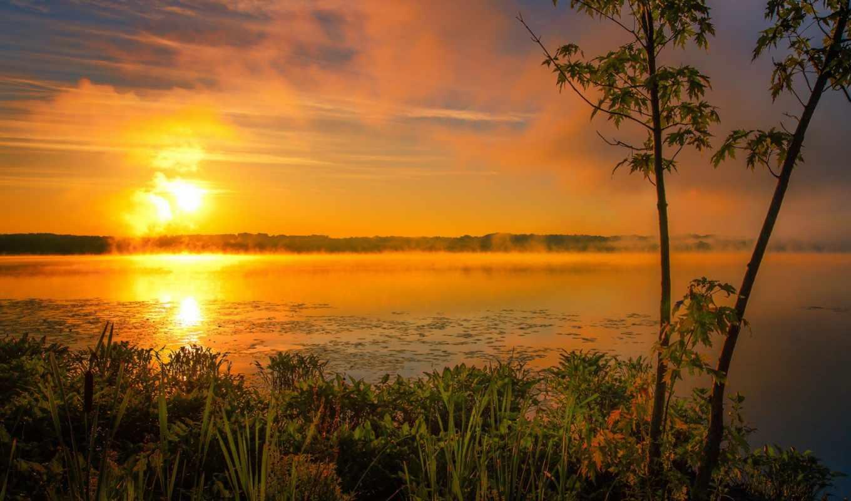 закат, солнца, за, озеро, февр, количество, природы,