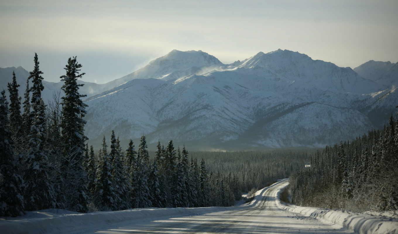дорога, landscape, пейзажи -, горы, лес, снег, sun, winter, деревья, дек,