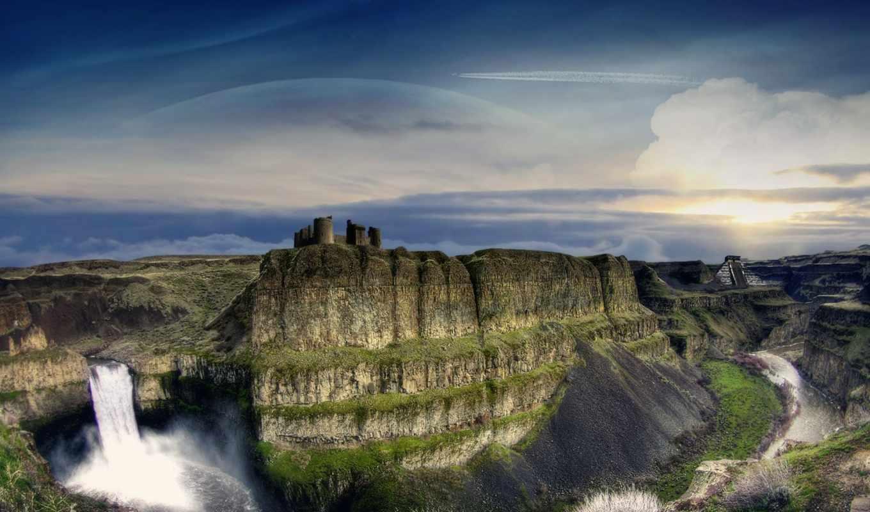 montañas, con, grandes, rios, cascadas, las, imágenes,