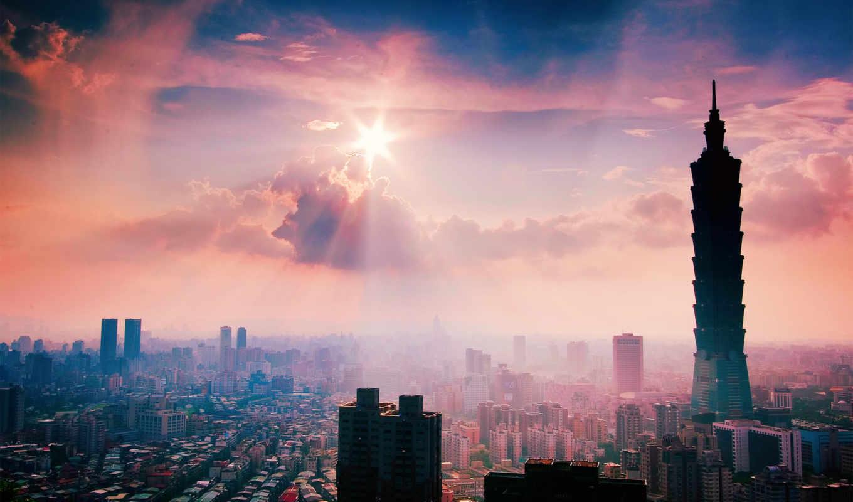 тайбэй, taipei, taiwan, июнь, разрешений, вечер, весна, здания,