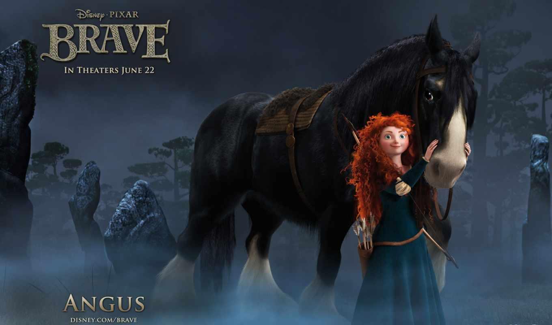 brave, сердцем, храбрая, merida, рыжая, лес, девушка, мультфильмы,