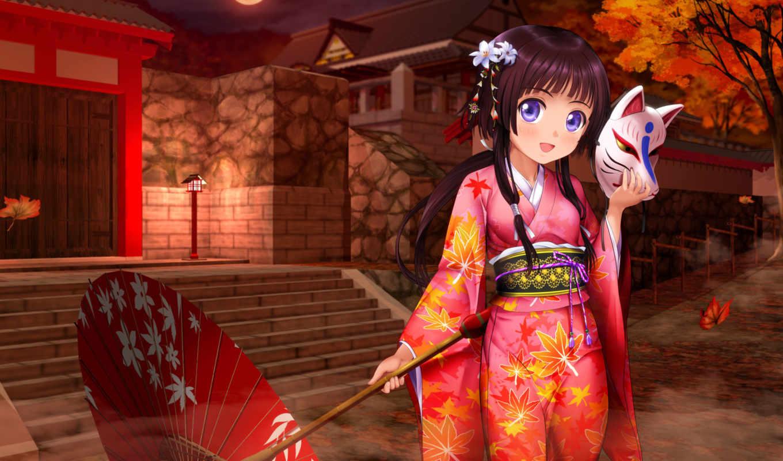 anime, кимоно, Сакура, девушка, chicas, оригинал, зонтик, kinomoto, card,