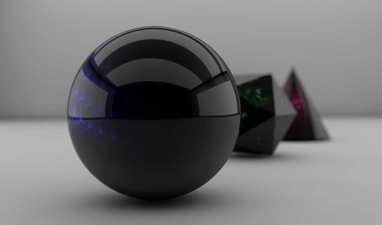 сфера, полигон, отражение, full, мяч, cone, blurry, desktop, рисунок,