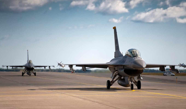 самолёт, взлетной, полосе, военный, американский,