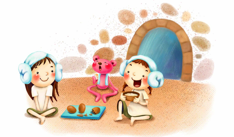 нарисованные, дети, девочки, медвежонок, яйца, шоколад, чашка, наушники, дверь, дождь