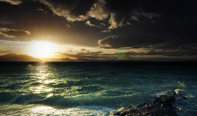 море, волны, природа, пенка, небо, закат,