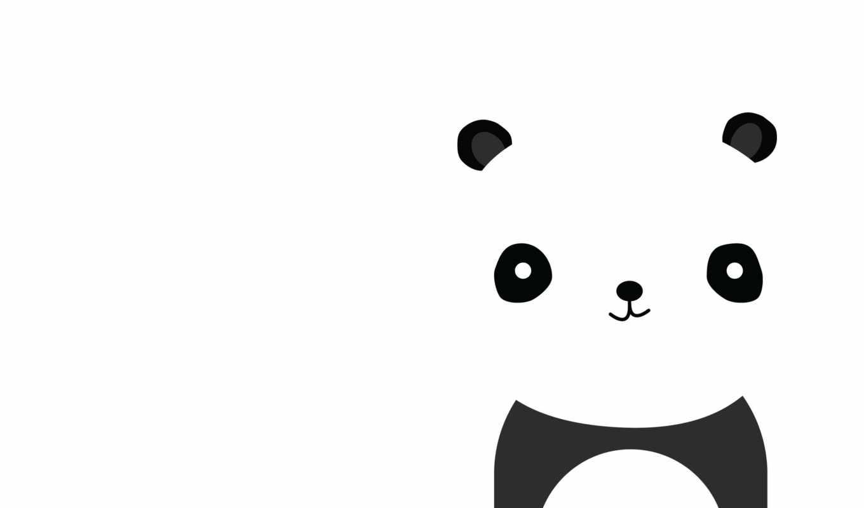 черный, картинку, картинка, белый, улыбка, панда, минимализм, кнопкой, правой, медвежонок,