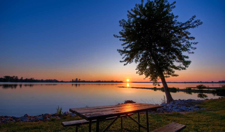 закат, дерево, небо, свой, озеро, совершенно, picturesque, пароль,
