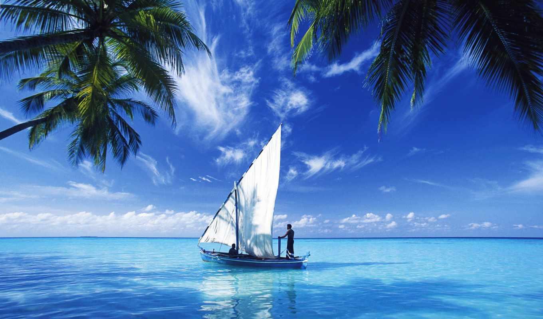 ocean, indian, парусник, indien, paysage, ecran, pictures,