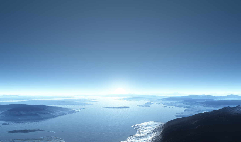 горизонт, залив, раздел- рендеринг