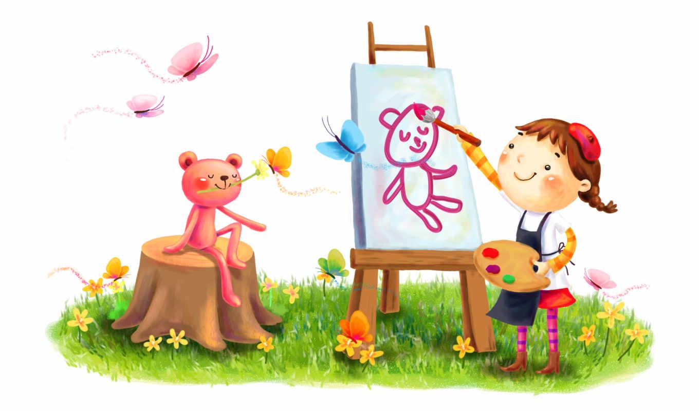 нарисованные, девочка, медвежонок, мольберт, краски, улыбка, берет, халат, цветок, модель, бабочки, поляна