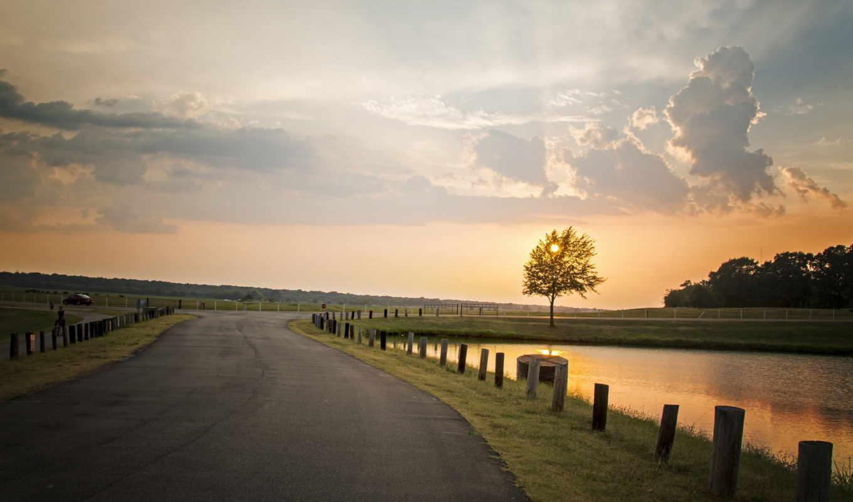 landscape, дорога, природа, небо, закат, деревья, trailer,
