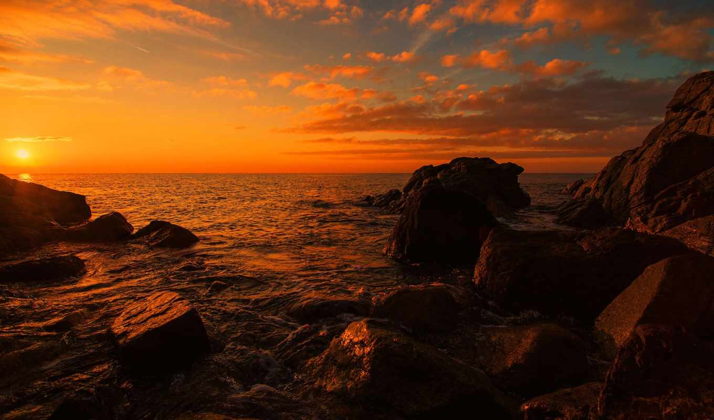 закат, море, скалы, берег, картинку, sun, каряга,