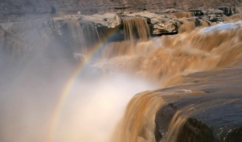 ,природа, водопады, full, радуга, скалы,