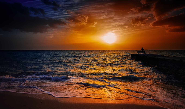 закат, рыбак, море, лодка, озеро, песок, волна, природа, sun, побережье, free