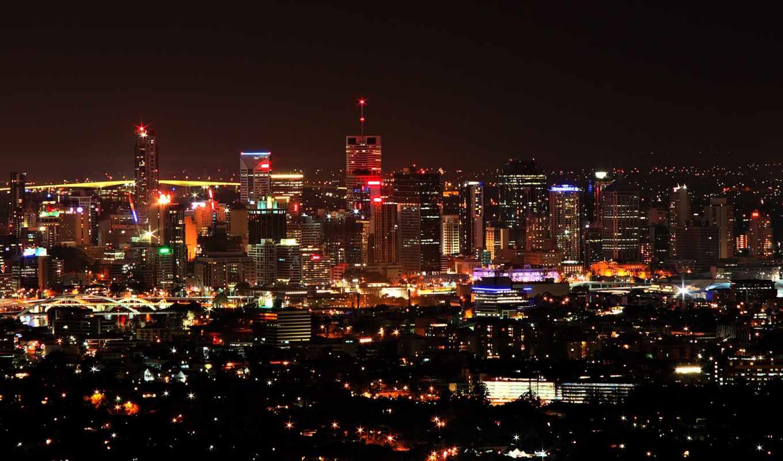 город, огни, ночь, города,