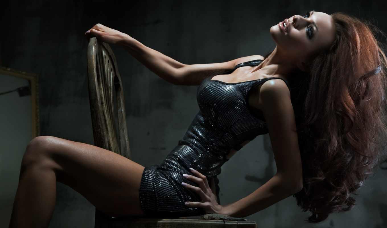 девушка, кресло, сидит, рисунок, cute, секси, hot, позирует, provocateur, ass, поза, взгляд, волосы,