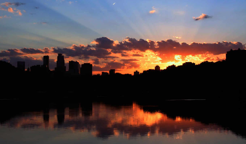 закат, со, город, картинка, water, небо, buildings,