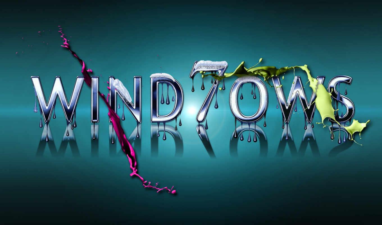 windows, Se7en, лого, жидкость, капли, синий