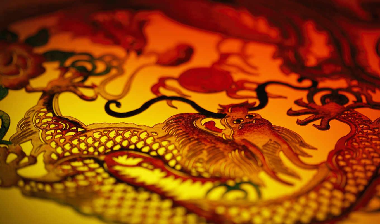 китаянка, дракон, год, фон, усы, голова, pearls,