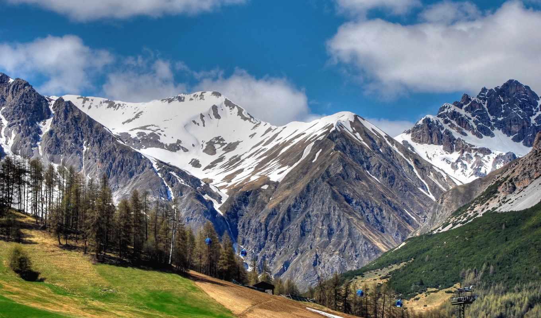 горы, лес, клипарт, снег, oblaka, подъёмник, пейзажи -, спа, mountains,