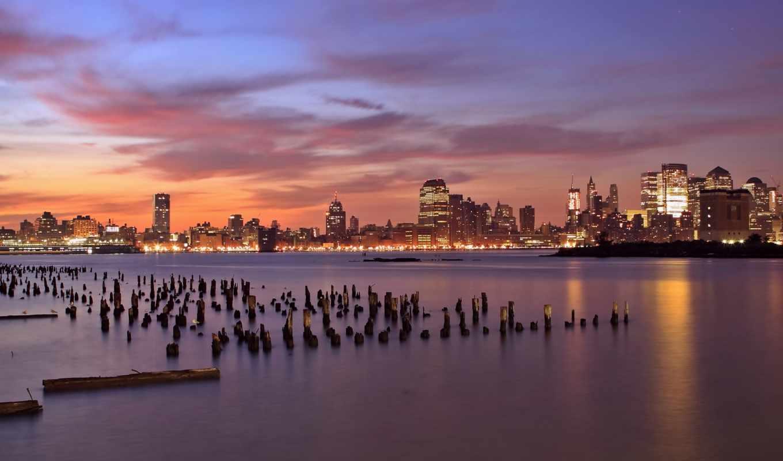jersey, небоскребы, сша, город, new, usa, нью, столбики, огни, закат,