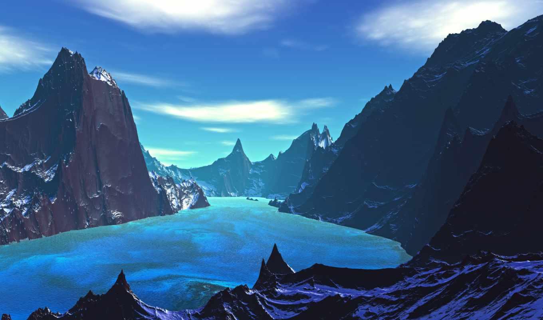 природа, landscape, blue, ultra, uhd, озеро,