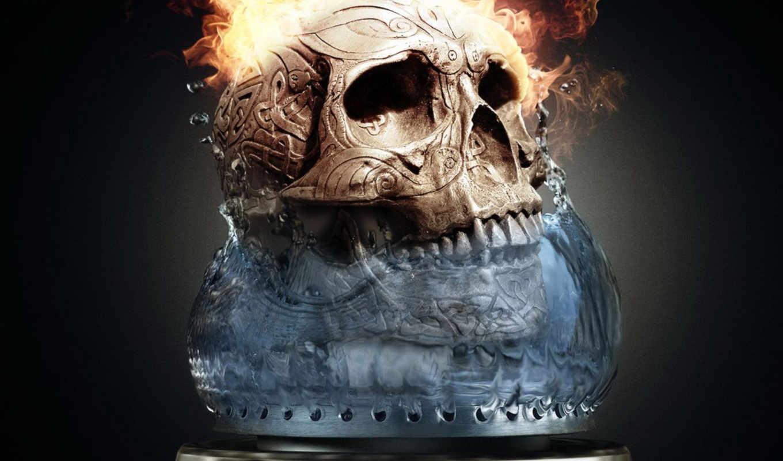 огонь, skull, пламя, ice, serega, картинка, free, facebook, ir, this,