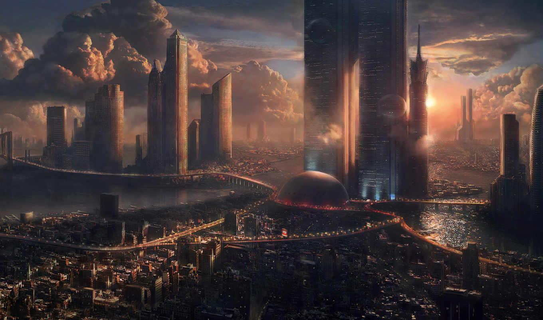 город, небоскребы, будущее, картинку, закат, облака,