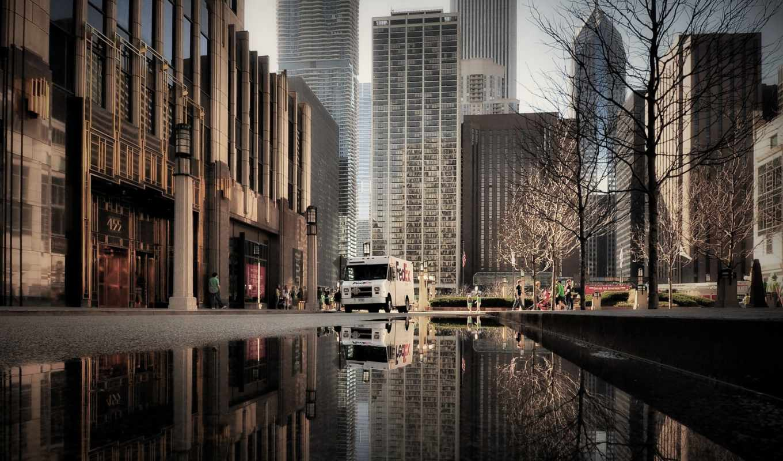 chicago, иллинойс, лужи, usa,