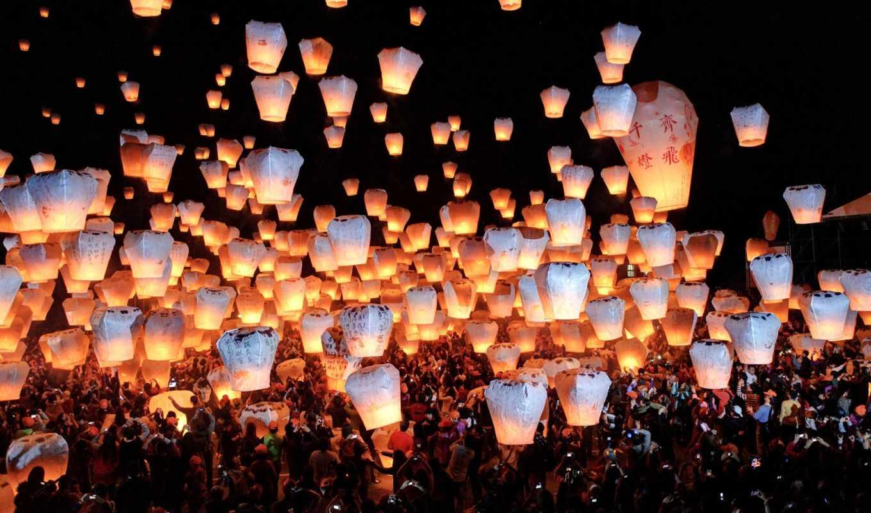 фонарики, небо, горящие, festival, фонариков, небесных, ночное, тайване, людей, толпа,